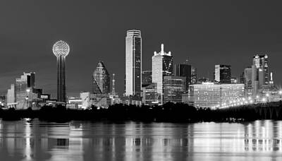 Dallas Skyline Photograph - Dallas Night Bw May 2015 by Rospotte Photography