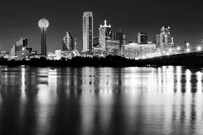 Dallas Photograph - Dallas Night Reflection Bw by Rospotte Photography