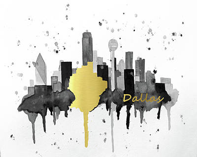 Dallas Skyline Painting - Dallas Skyline by Amber McDowell