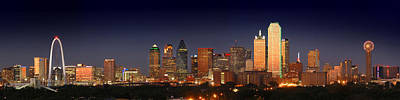 Dallas Skyline At Dusk  Print by Jon Holiday