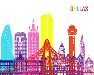 Dallas Skyline Painting - Dallas Skyline Pop by Pablo Romero
