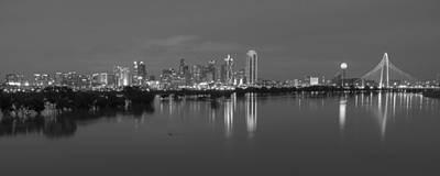 Dallas Skyline Photograph - Dallas Skyline Trinity Black And White by Jonathan Davison
