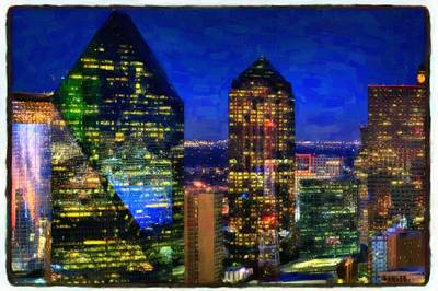 Dallas Skyline Painting - Dallas Skyscrapers by Lanjee Chee