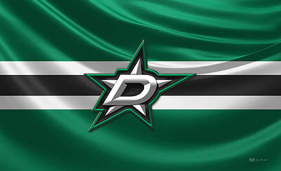 Dallas Stars - 3 D Badge Over Silk Flag Original by Serge Averbukh