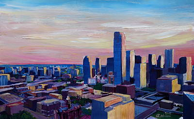Dallas Texas Impressive Skyline At Dusk  Original by M Bleichner