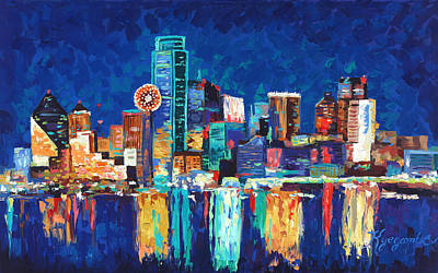 Dallas Skyline Painting - Dallas Texas Skyline 01 by Paul Kyegombe
