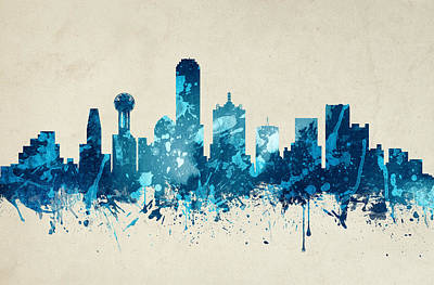 Dallas Skyline Digital Art - Dallas Texas Skyline 20 by Aged Pixel