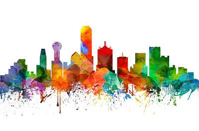 Dallas Skyline Digital Art - Dallas Texas Skyline 21 by Aged Pixel
