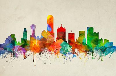 Dallas Skyline Digital Art - Dallas Texas Skyline 22 by Aged Pixel