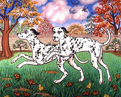 Puppy Painting - Dalmatians Two by Linda Mears