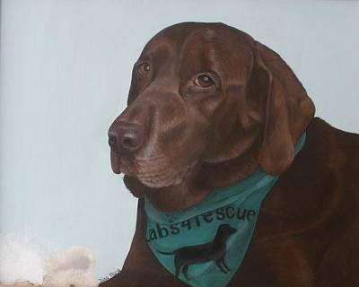 Chocolate Labrador Retriever Painting - Dalton's Toy by Dina Marie Pratt