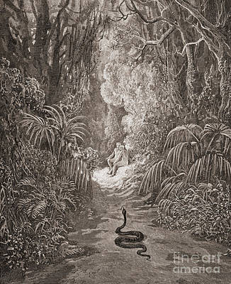 Burmese Python Drawing - Adam And Eve   Illustration From Paradise Lost By John Milton by Gustave Dore