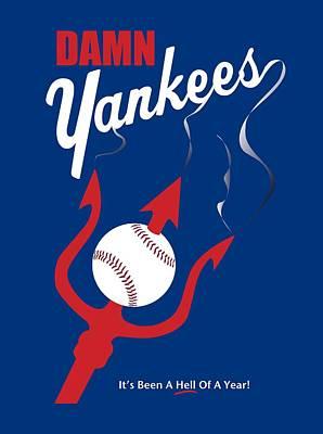 Yankee Stadium Digital Art - Damn Yankees Pitchfork Tee Shirt by Ron Regalado