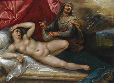 Danae Painting - Danae by Follower of Hendrik Goltzius
