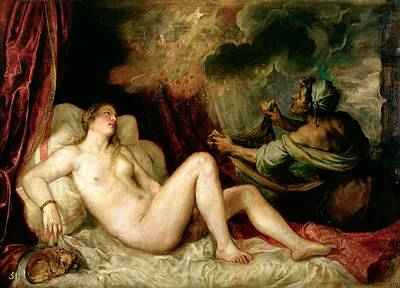 Attendant Painting - Danae Receiving The Shower Of Gold by Titian