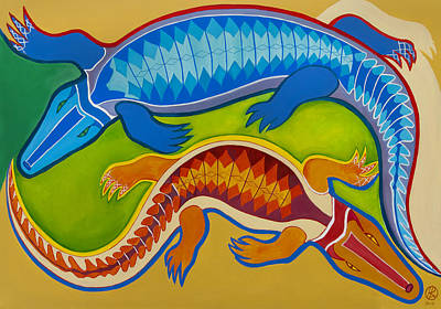 Aligator Painting - Dance Of The Crocodiles by Robert Lacy