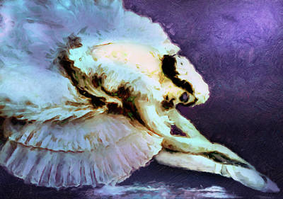 Past Mixed Media - Dance Of The Dying Swan Ballerina Abstract Realism  by Georgiana Romanovna