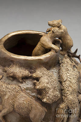 Dance Of The Seasons - Bronze Wildlife Bowl Detail - Bear Cubs And Porcupines Original by Dawn Senior-Trask