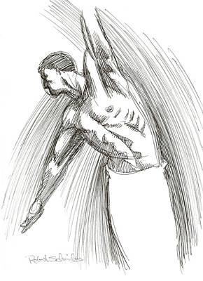 Homoerotic Drawing - Dance by Robert Schnieders