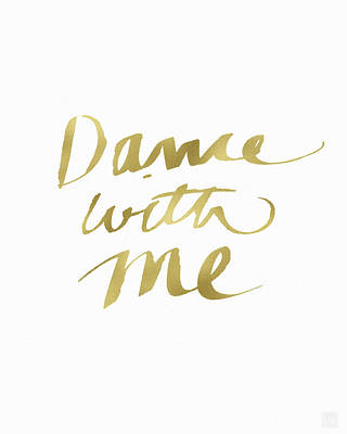 Dance With Me Gold- Art By Linda Woods Print by Linda Woods