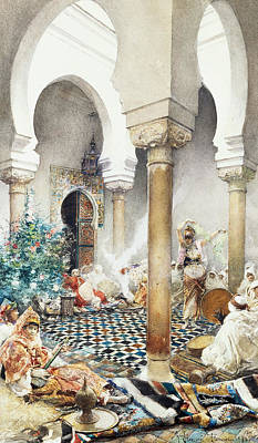 Dancer In A Harem Print by Gustavo Simoni
