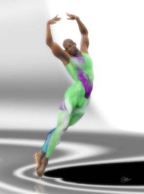 Dancer With Green Leotard Print by Joaquin Abella