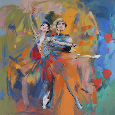 Duet Painting - Dancers 278 1 by Mawra Tahreem