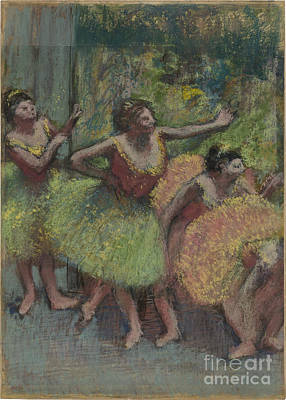 Dancers In Green And Yellow Print by Edgar Degas