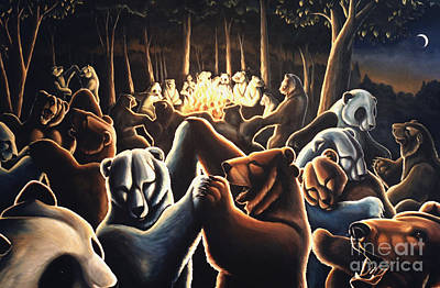 Wildlife Celebration Painting - Dancing Bears Painting by Kim Hunter