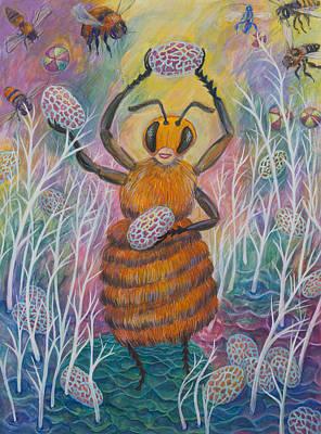 Microscopic Painting - Dancing Bee by Shoshanah Dubiner