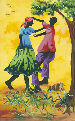 Haitian Painting - Dancing Couple by Herold Alvares