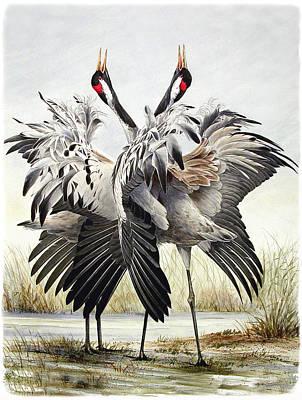 Crane Mixed Media - Dancing Cranes by Dag Peterson