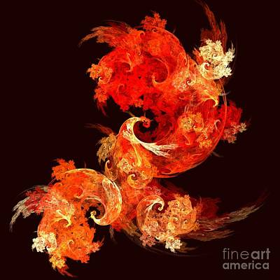 Abstract Digital Art Painting - Dancing Firebirds by Oni H