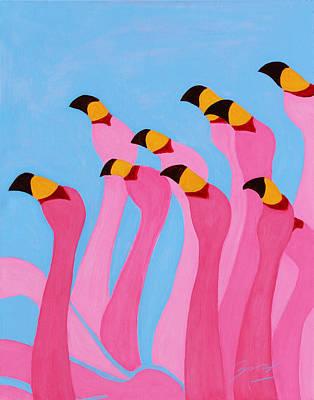 Painting - Dancing Flamingos by Xueling Zou