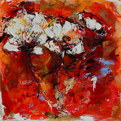 Abstraction Painting - Dancing Flowers by Elise Palmigiani