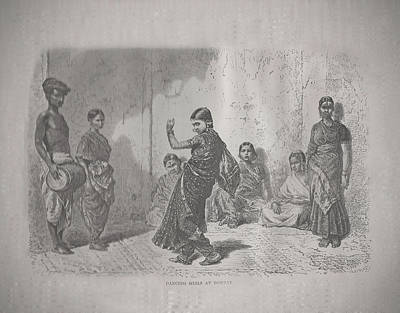 Dancing Girls At Bombay Bw Original by Angela Lautin