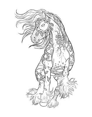 Pony Drawing - Dancing Gypsy Horse Zentangle by Cindy Elsharouni