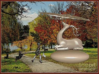 Dancing In Front Of The Statue Of The Deer 3 Original by Pemaro