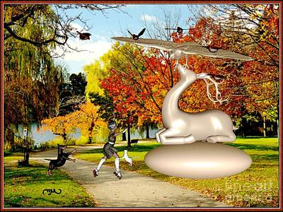Dancing In Front Of The Statue Of The Deer 44 Original by Pemaro