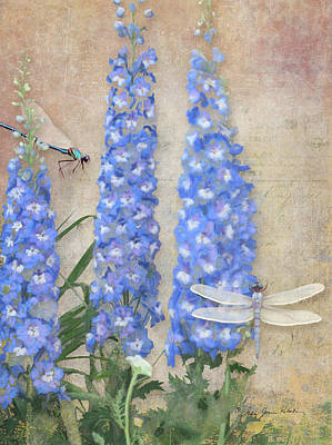 Dancing In The Wind - Damselfly N Dragonfly W Delphinium Print by Audrey Jeanne Roberts