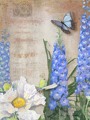 Delphinium Painting - Dancing In The Wind - Damselfly N Morpho Butterfly W Delphinium by Audrey Jeanne Roberts