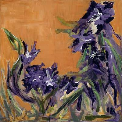 Abstract Movement Mixed Media - Dancing Iris by Joannie Eastridge