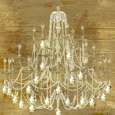 Candle Lit Painting - Lit Chandelier Gold by Mindy Sommers