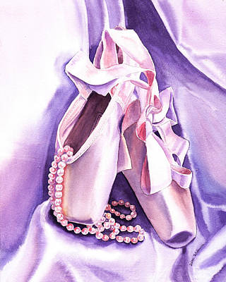 Silk Painting - Dancing Pearls Ballet Slippers  by Irina Sztukowski