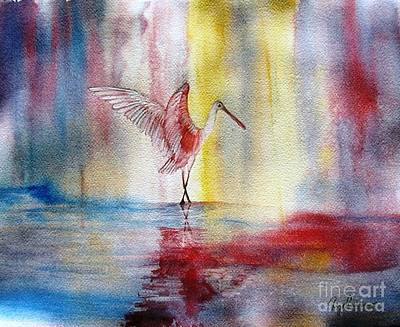 Spoonbill Painting - Dancing Roseate Spoonbill by Georgia Johnson