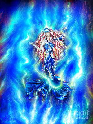 Dancing With Blue Light Is Eternity Print by Sofia Goldberg