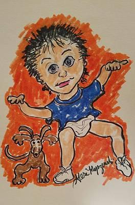 Dancing With The Puppy Print by Geraldine Myszenski