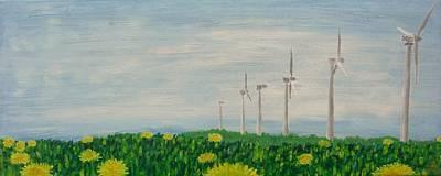 Dandelion Etude No. 3 Windmills Original by David L Paxton