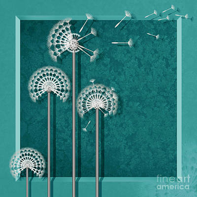 Dandelion In The Square Print by Monika Juengling