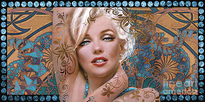 Marilyn Monroe Digital Art - Danella Students 2 Aqua by Theo Danella